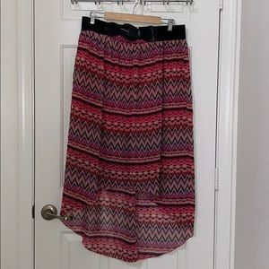 Hi low multi color skirt